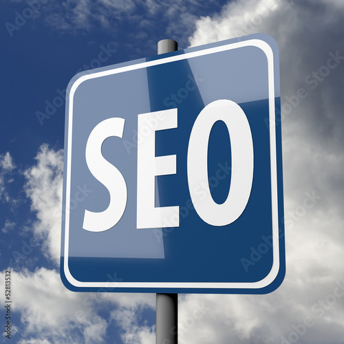 Road sign blue with word SEO