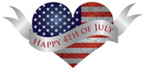 Happy 4th of July Heart with Scroll - 52814501