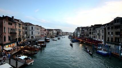 Evening view of the Grand Canal in Venice, Italy