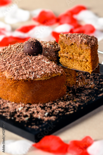 Romantic chocolate walnut cake with slice up