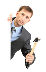 Young businessman with wrench isolated on white.