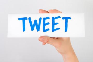 Hand showing tweet word