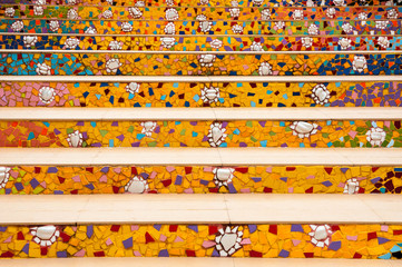 stairs made from broken ceramic tile