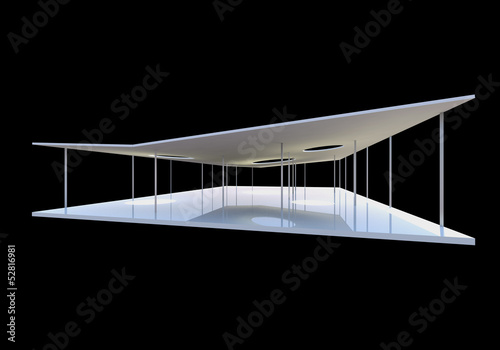 Conceptual modern architecture on black background