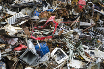 Metal waste pieces ready to be recycled