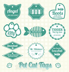 Vector Set: Pet Cat Name Tags and Labels