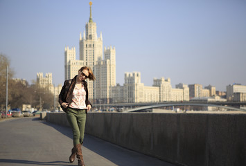 Beautiful girl walking around Moscow.