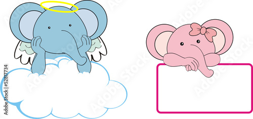 elephant kid girl angel copy space cloud set