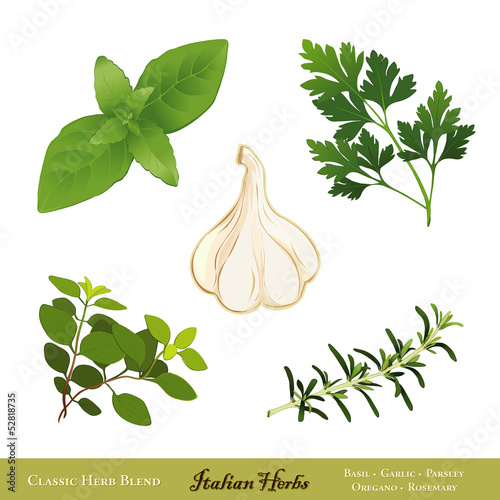Italian Herbs: Basil, Garlic, Italian Parsley, Oregano Rosemary