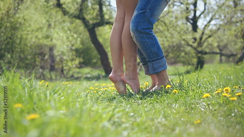 romantic couple of lovers walk in the garden