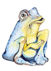 Poor blue frog