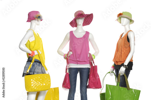 fashion dress with handbag with hat on female three mannequin - 52819500