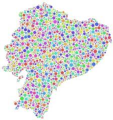 Map of Ecuador in a mosaic of harlequin circles