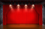 Theater stage with red curtains and spotlights. Theatr ical scen