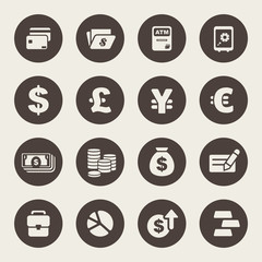 Finance and money theme icons set