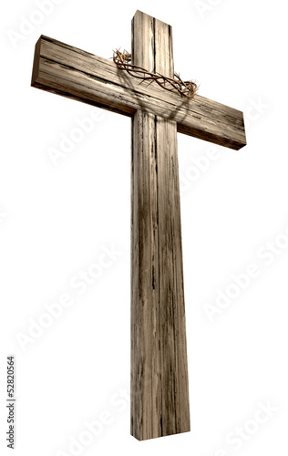 Wooden Crucifix With Crown Of Thorns