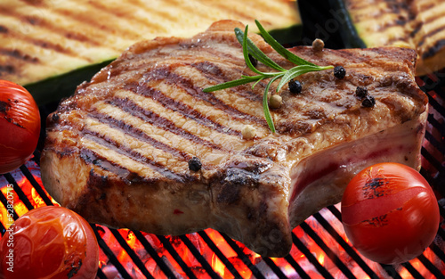 Grilled meat steak and vegetables