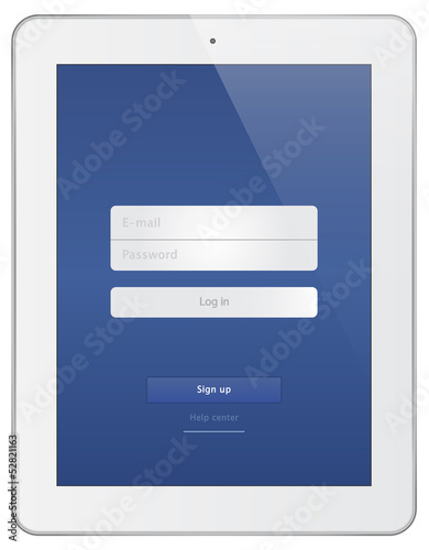 White Business Tablet With Login Page