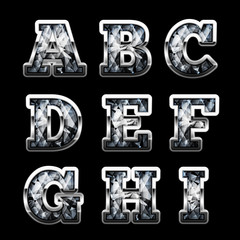 Silver diamond letters set (uppercase version) - eps10