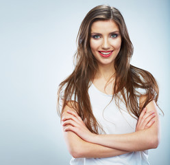 Young smiling woman portrait isolated. Casual style. Beautiful
