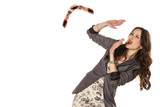 woman defending herself with her hands from the boomerang