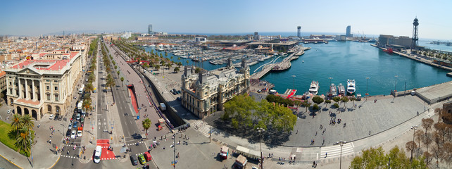 Panorama view of Barcelona port