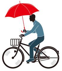 道交法違反 傘をさしながら走行する自転車