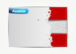 Stitched Austria flag with grunge paper frame for your text.