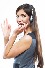 Woman customer service worker, call center smiling operator wi