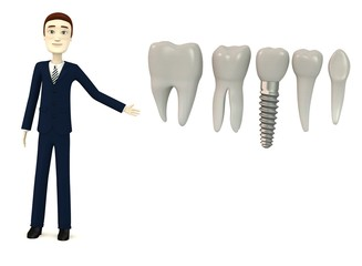 3d render of cartoon character with tooth implant