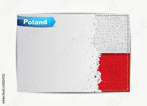 Stitched Poland flag with grunge paper frame for your text.