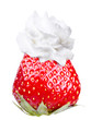 Whipped cream with tasty strawberry on a top isolated