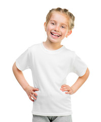 little girl in white t-shirt
