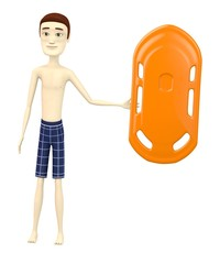 3d render of cartoon character with buoy