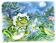 Frog and grasshopper, admiring moon against the pond