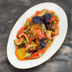 Ratatouille - traditional vegetable stew in plate