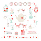 Cute vector valentines set of love and sweets