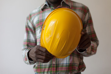 African American with construction helmet