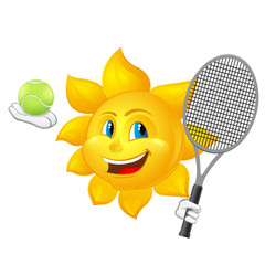 cartoon sun is playing tennis