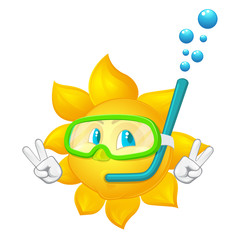 cartoon sun with mask and  snorkel