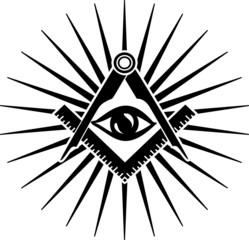 Freimaurer Symbol, Zirkel, Winkel, Allsehendes Auge