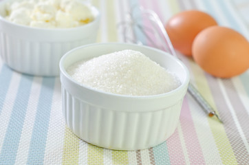 cottage, sugar and eggs