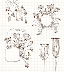 Set of flowers sketches on the school background