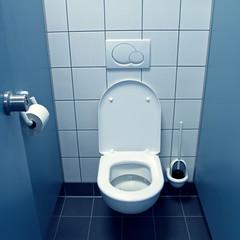 blaue Toilettenkabine