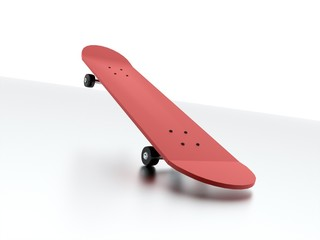 Red skateboard isolated