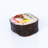 Sushi roll on white background