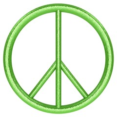 3d green peace symbol on white