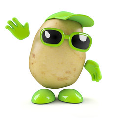 3d Potato waves a cheerful hello