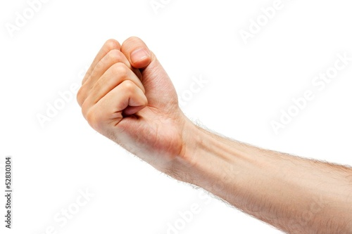 man's fist. isolated on white background