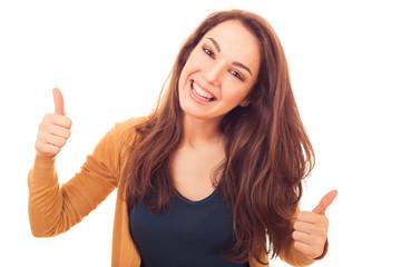 happy woman shows gesture OK